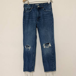 Bershka High Rise Straight Cropped Jeans Size 4